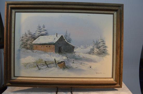 Winter Barn Painting