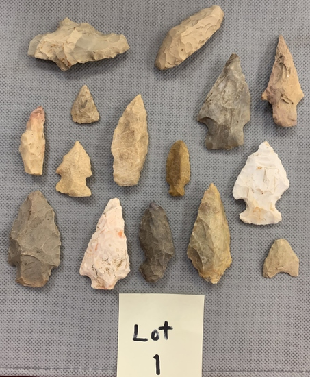 Lot of 15 Arrowheads All for one bid!