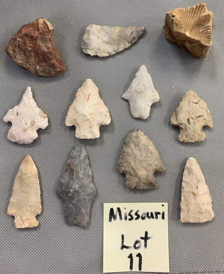 Lot of Missouri arrowheads, fossils, and a drill.