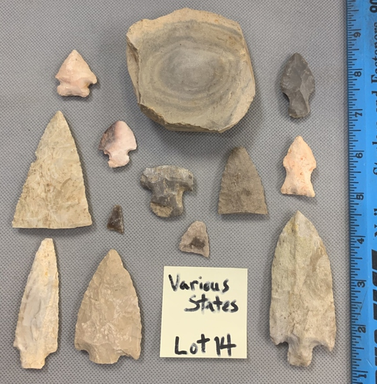 Arrowheads & artifacts from various states