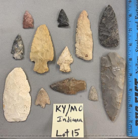 Arrowheads & blades from Kentucky, Missouri, & Indiana.