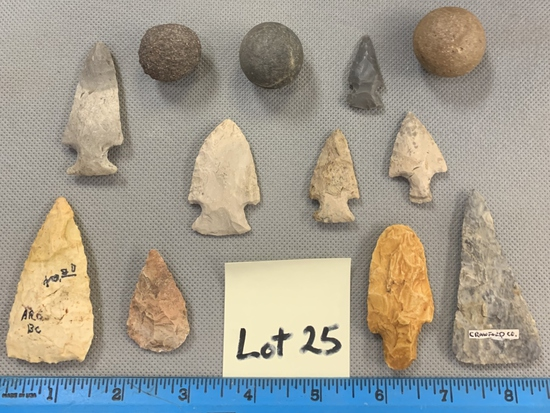 Lot of arrowheads & game balls