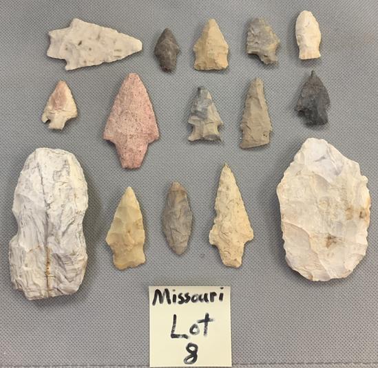 Lot of Missouri blades, arrowheads, etc.