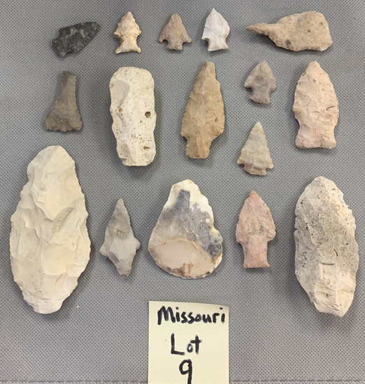 Lot of Missouri arrowheads, scrapers, and a drill.