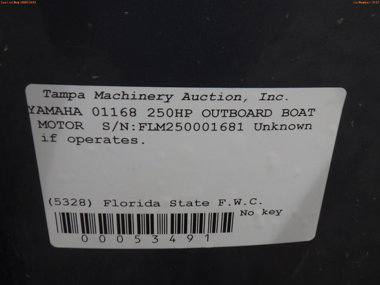 3-03112 (Equip.-Boat engine)  Seller: Florida State F.W.C. YAMAHA 01168 250HP OU