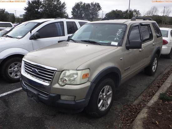 3-14114 (Cars-SUV 4D)  Seller: Florida State A.C.S. 2007 FORD EXPLORER