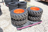 4 New Skid Steer 10-16.5 Loader Tires and Wheels