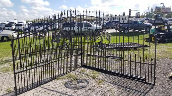 16FT Powder Costed Tree of Life Swing Gates with Posts