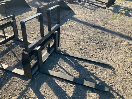 Unused Skid Steer 48in 4,200lb Step Through Forks