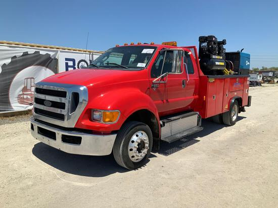 2012 Ford F-650 Extended Cab Dually Service Crane Truck