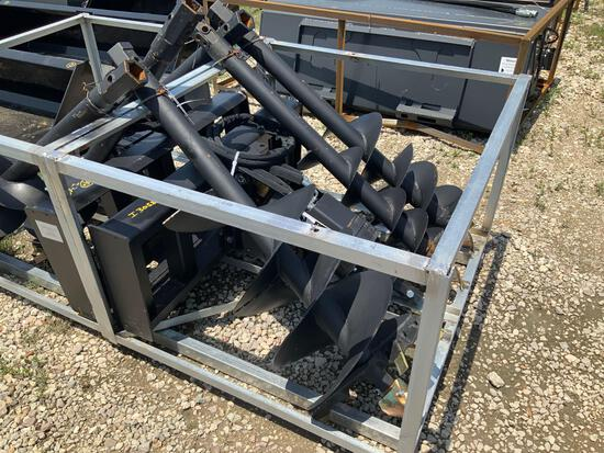Unused Skid Steer Hydraulic Auger Attachment with 9 12 and 18in Bits