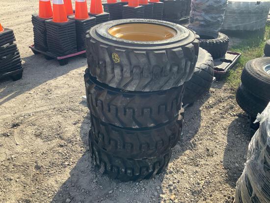 4 Caterpillar 10-16.5 Skid Steer Tires