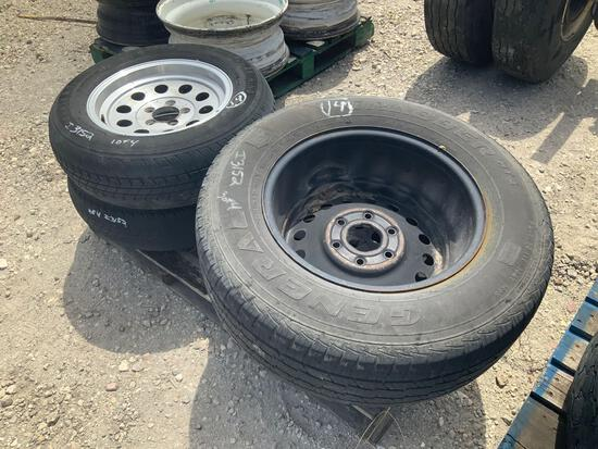 Four misc tires & wheels