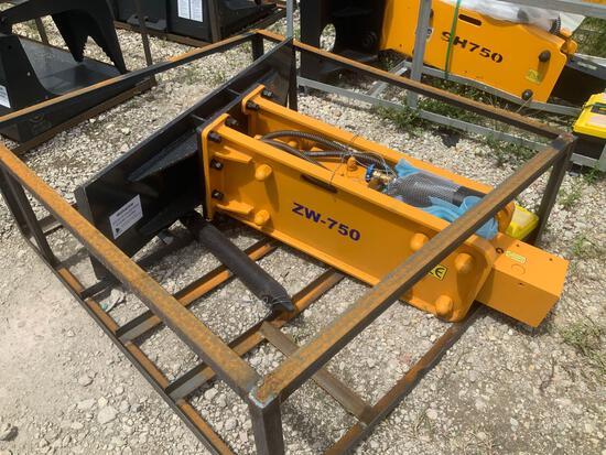 Unused Wolverine ZW-750 Skid Steer Hydraulic Breaker Demo Hammer