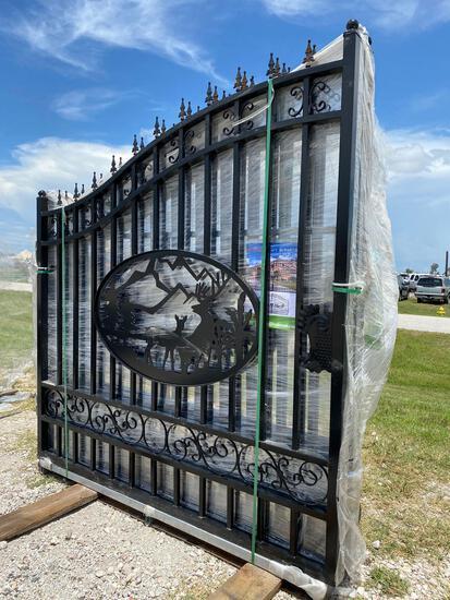 Unused 14ft Wrought Iron Bi-Parting Swing Gate Set