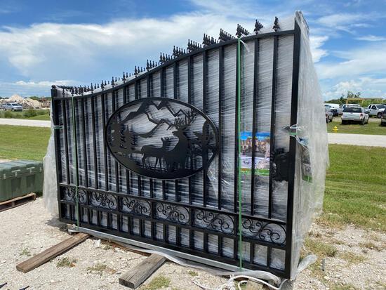 Unused 20ft Wrought Iron Bi-Parting Swing Gate Set