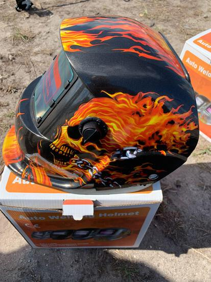 Auto welding helmet - flaming skull design
