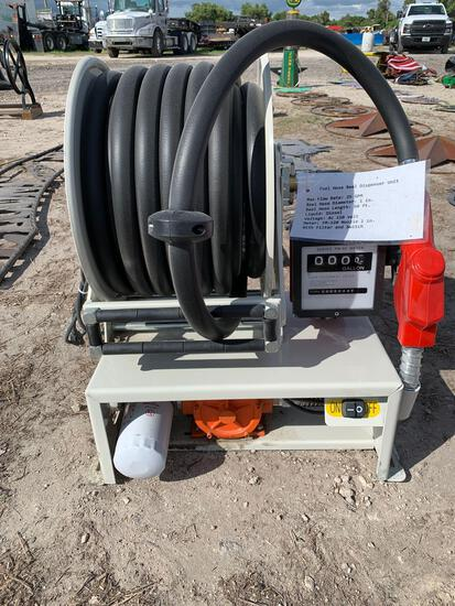 Fuel hose reel dispenser unit
