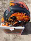 Auto welding helmet - flaming skull design