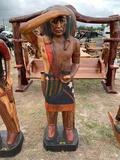 Native American Indian Wood Statue