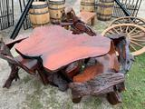 Teak wood table with three chairs