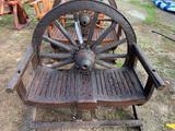 Teak Wood Wagon Wheel Bench
