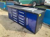 Unused 7ft, 10 Drawer Work Bench