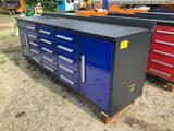 Unused 10ft, 15 Drawer Work Bench