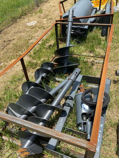 Unused Skid Steer Hydraulic Auger Attachment with 4 Bits