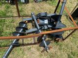 Unused Skid Steer Hydraulic Auger Attachment with 3 Bits
