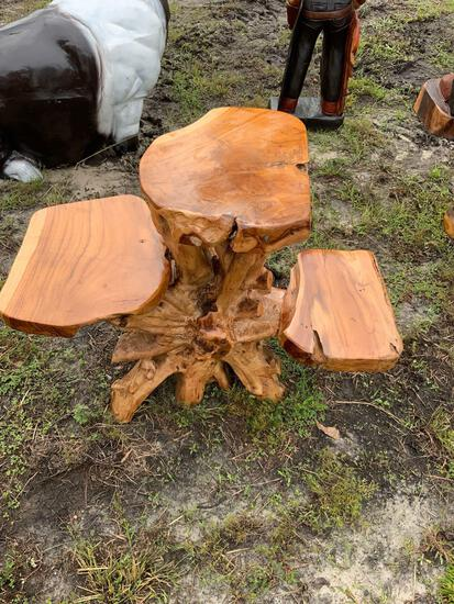 Small Teak Wood Table w/ Seats
