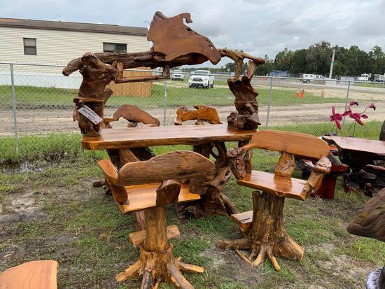 Teak Wood Bar w/ Four Teak Wood Stools