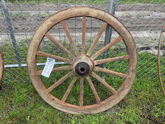 Teak Wood Wagon Wheel
