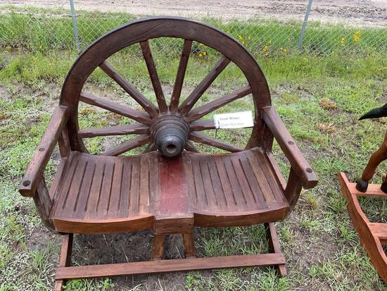 Wagon Wheel Two Person Bench