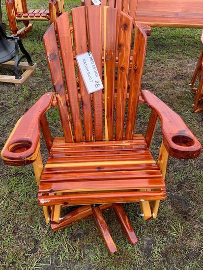 Red Cedar, Amish Built, Swivel Rocking Chair