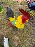 Medium Size Metal Rooster Lawn Ornament