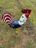 Medium Size Red/White/Blue Rooster Lawn Ornament