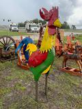 Large Metal Rooster Lawn Ornament
