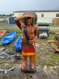 Large Native American Wood Lawn Ornament
