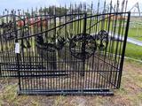 One Set Wrought Iron Gates w/ Tree Symbol