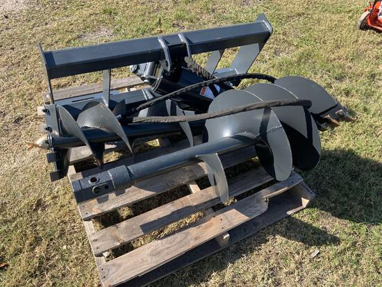 Unused Skid Steer Auger with 2 Drill Bits