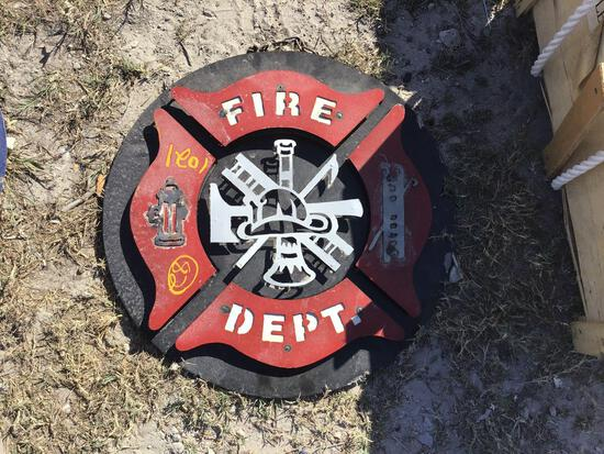 Fire Dept Metal Sign Decor