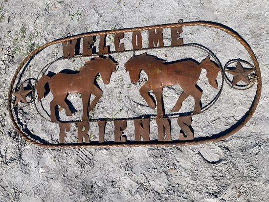 Welcome Friends Metal Horse Sign