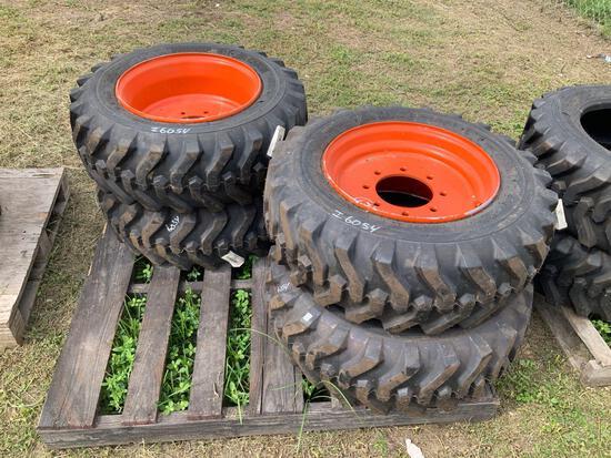 Four Unused 10-16.5 Skidsteer Tires with Rims