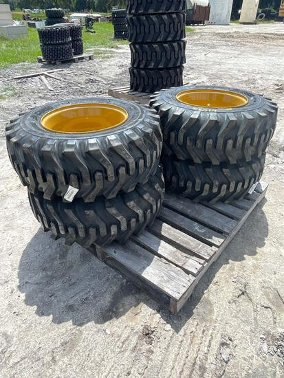Four Unused Camso 12-16.5 Skid Steer Tires and Wheels