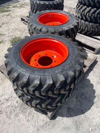 Four Unused Camso 10-16.5 Skid Steer Tires and Wheels