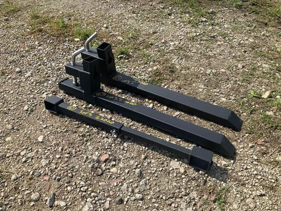 Unused Skid Steer Bolt on Fork Extensions with Stabilizer