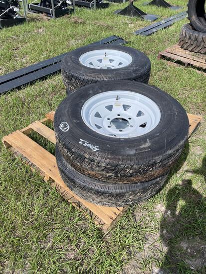 Four Unused 225/75R15 Trailer Tires and Rims