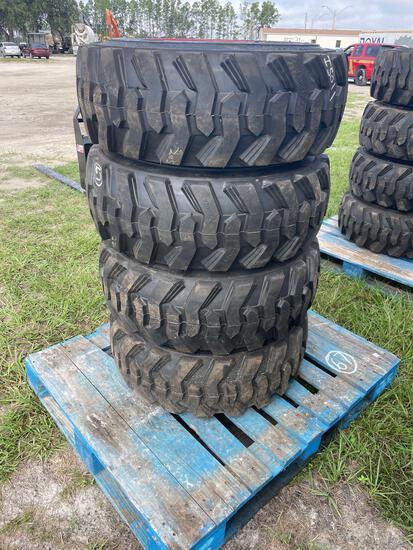 Four Unused Loadmaxx 12-16.5 Skid Steer Tires and Wheels