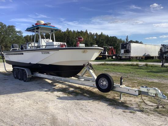 2005 Boston Whaler 27FT Center Console Firefighting Boat with Tri-Axle Trailer